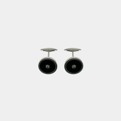 Stainless Steel, Diamond and Onyx Cufflinks
