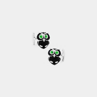 Sterling Silver Italian Owl Cufflinks