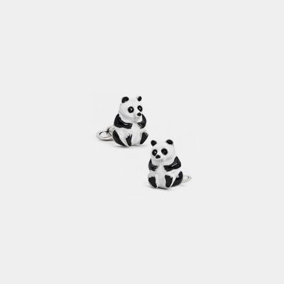 Sterling Silver Italian Panda Bear Cufflinks