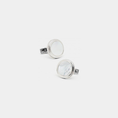 Sterling Silver Round Mother-Of-Pearl Cufflinks