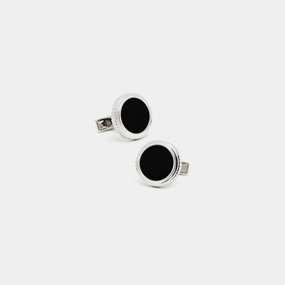 Round Sterling Silver and Onyx Cufflinks
