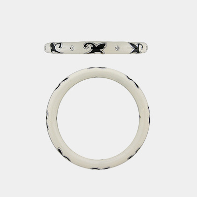 White and Black Bangle Bracelet with Diamond Details