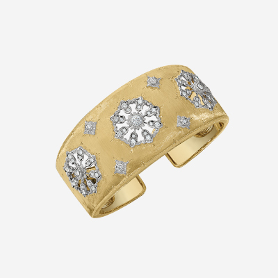 18kt Brushed Flower Bangle