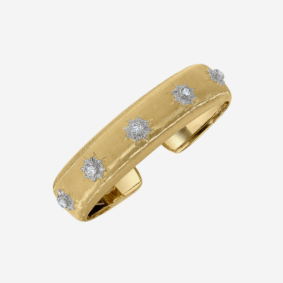 18kt White Brushed Bangle and Diamond Bracelet