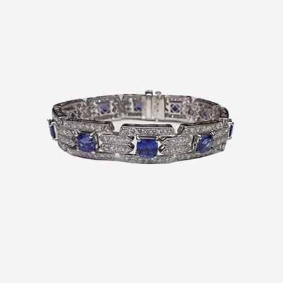 Platinum Art Deco Style Sapphire & Diamond Bracelet