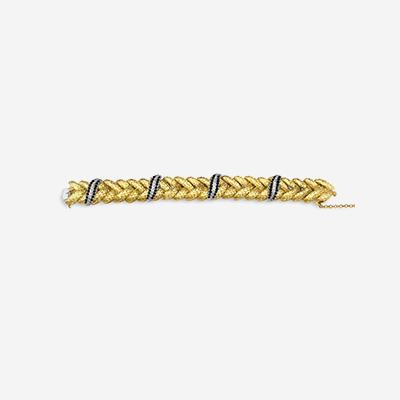18kt Braided Sapphire and Diamond Bracelet