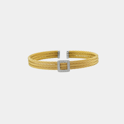Yellow & White Gold Square Diamond Cable Bracelet