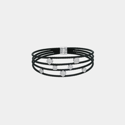 Noir Diamond Cable Cuff Bracelet