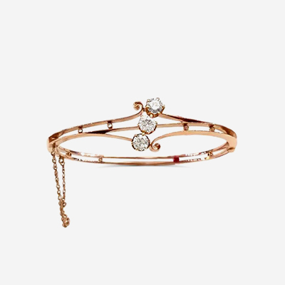 14kt Open Design Diamond Bangle