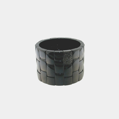 Black Ceramic Diamond Wide Cuff Bracelet