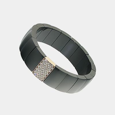 Black Ceramic Diamond and Gold Bracelet