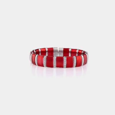 Gold & Silver Red Enamel Diamond Bracelet