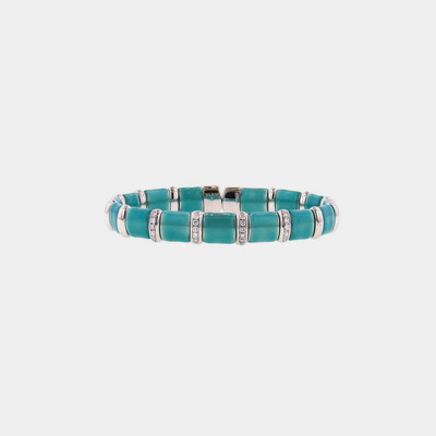Silver And Turquoise Diamond Bracelet