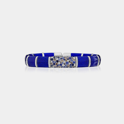 Blue Enamel Bracelet With Sapphires And Diamonds