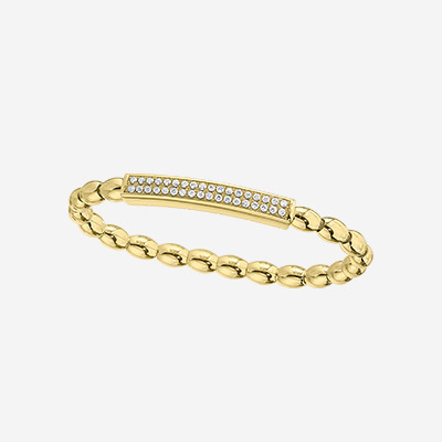 14kt Bead Bracelet with a Bar of Diamonds