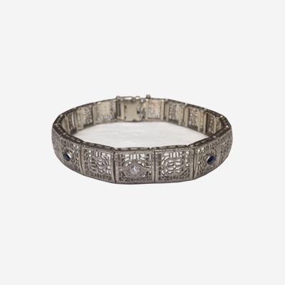 14kt Antique Diamond and Sapphire Filagree Bracelet