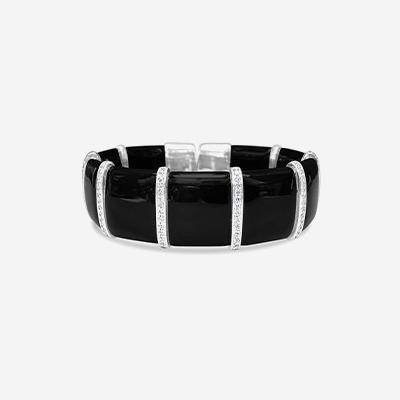 18kt Enamel and Diamond Bangle Bracelet