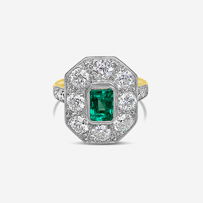 Platinum Antique Emerald and Diamond Ring