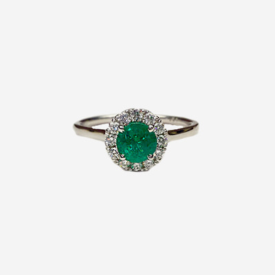 14kt Oval Emerald and Diamond Halo Ring