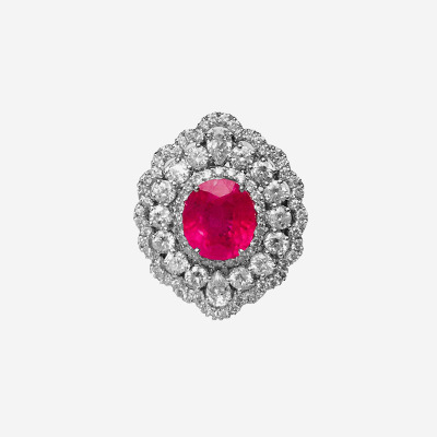 18kt Pink Sapphire and Diamond Ring