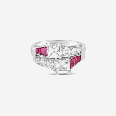 Platinum Bypass Diamond and Ruby Engagement Ring