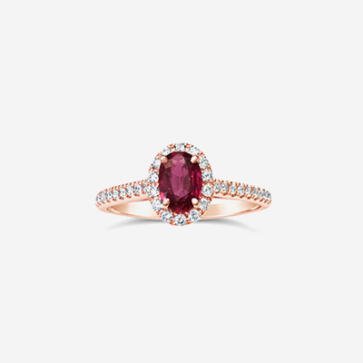 14kt Oval Ruby and Diamond Halo Ring