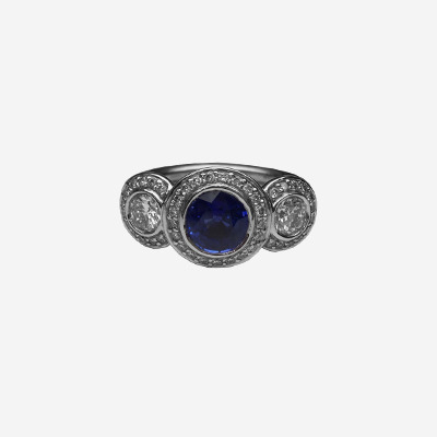 18kt Ceylon Sapphire and Diamond Ring
