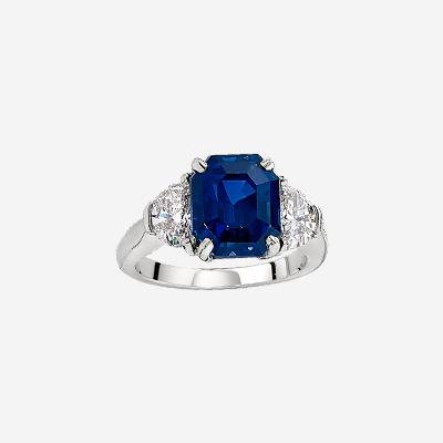 Platinum Emerald Cut Sapphire Ring