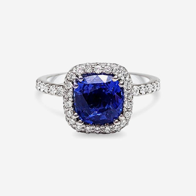18kt Cushion Shaped Sapphire And Diamond Ring