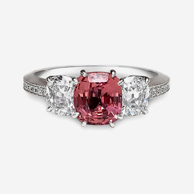Platinum Padparadscha Sapphire and Diamond Ring