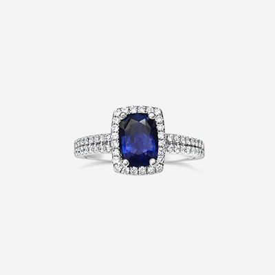 14kt Sapphire and Diamond Halo Ring