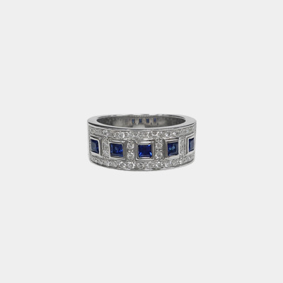 14kt White Gold Diamond & Sapphire Wedding Band