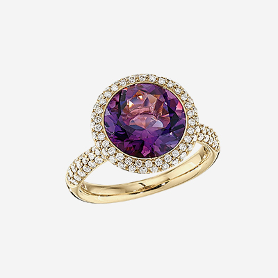 18kt Amethyst And Diamond Halo ring