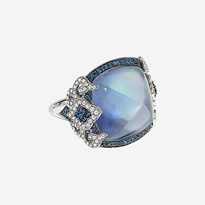18kt Diamond and Sapphire Ring with White Topaz over Lapis