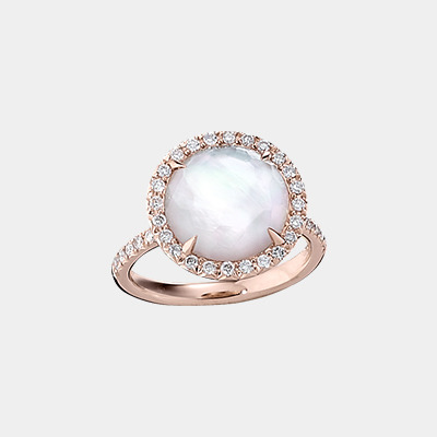 18kt Mother-of-Pearl and Quartz Ring