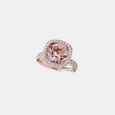 18kt Morganite and Diamond Ring
