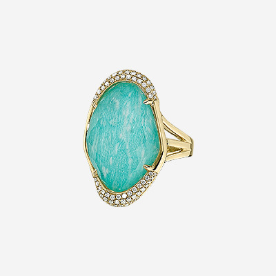 18kt Diamond Ring with White Topaz Over Amazonite