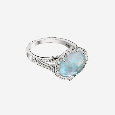 18kt Diamond Ring with White Topaz over an Oval Blue Topaz and Mother-Of-Pearl