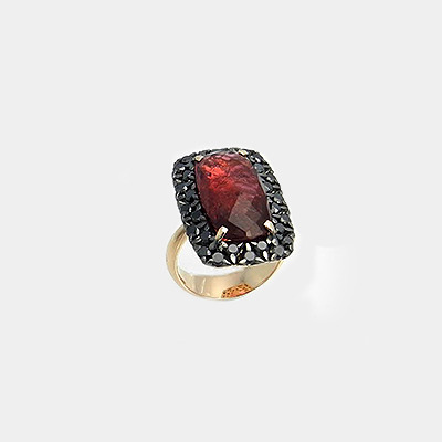 Rubellite & Black Diamond Ring