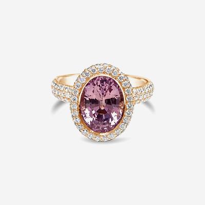 18kt Purplish Pink Sapphire Ring