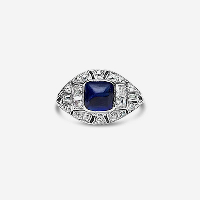 Platinum Antique Sugarloaf Sapphire and Diamond Ring