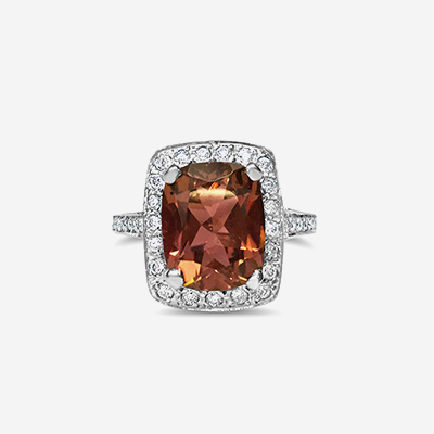 18kt Orangy Brown Tourmaline and Diamond Halo Ring
