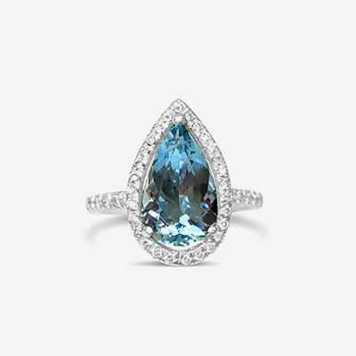 Platinum Pear Shape Aquamarine and Diamond Ring