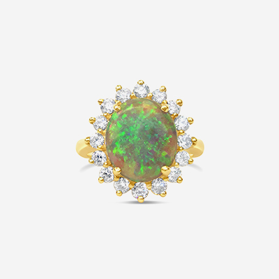 14kt Oval Opal and Diamond Halo Ring