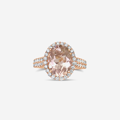 18kt Oval Morganite and Diamond Halo Ring