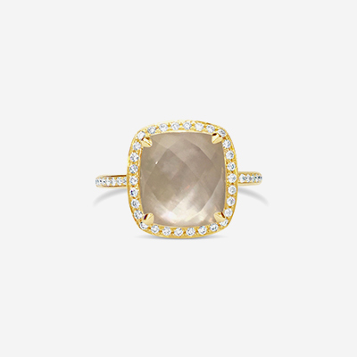 18kt Quartz over Mother-of-Pearl and Diamond Halo Ring