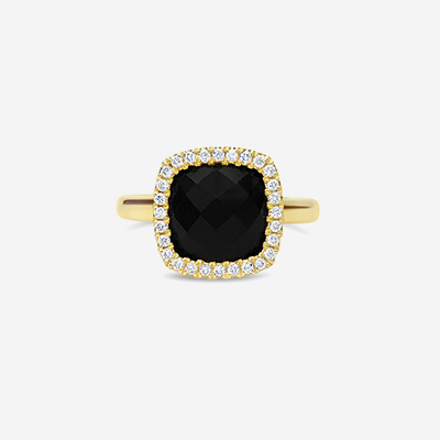 18kt Black Onyx and Diamond Halo Ring