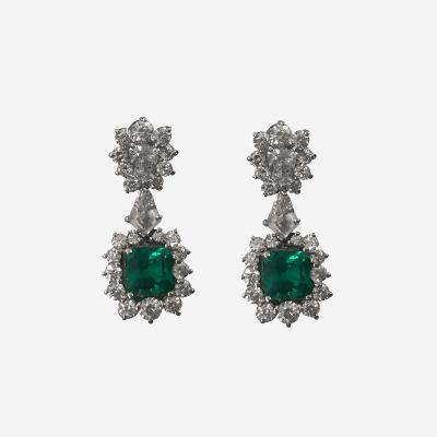 18kt Emerald and Diamond Drop Earrings