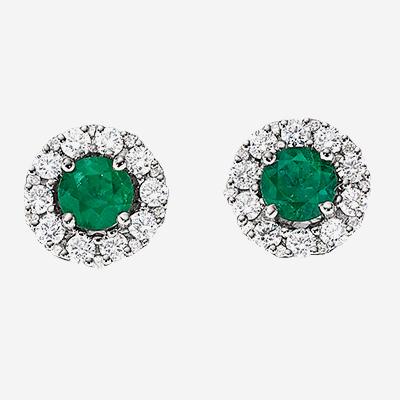 14kt Emerald And Diamond Halo Stud Earrings