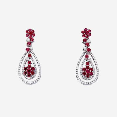 18kt Ruby and Diamond Drop Earrings